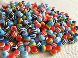 8mm-ROUND-beads-Striped-Resin-Assorted-Colours-x-50