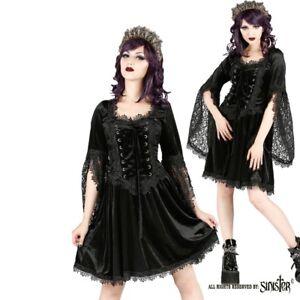 Details about Sinister Gothic Plus Size Black Velvet & Lace Bellsleeve  Corset Mini Dress 2X