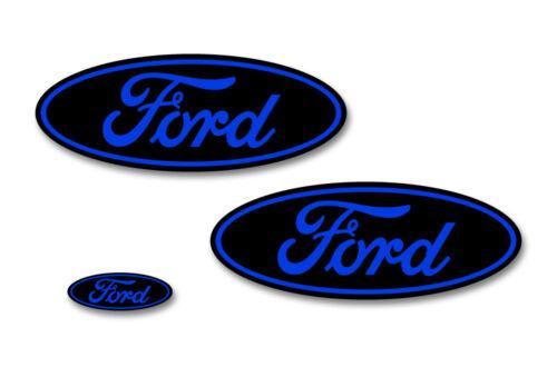 Ford Oval Badge Emblem Logo Overlay Sticker Decal Set For Ford F150 15-18 BLU BK