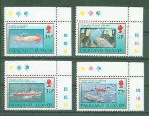 Falkland-1993-Fischerei-Schiffe-Flugzeug-Fishing-Fischen-Kalmare-Nr-588-91