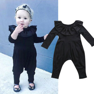 Newborn Baby Girls Ruffle Collar Long Sleeves Romper Harem Pants Outfits Clothes