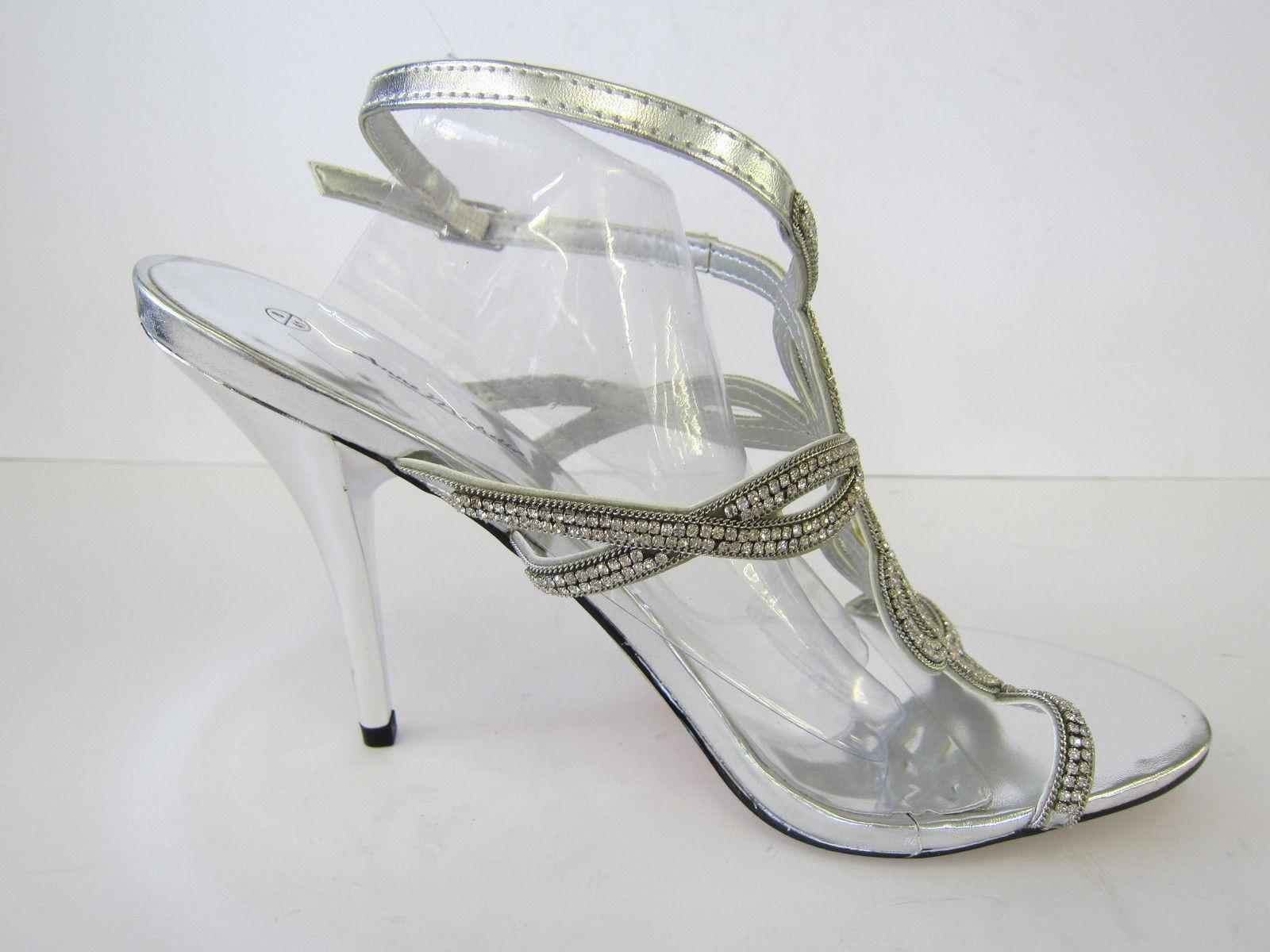 Silver Or Black Satin High Heel Evening Sandals Anne Michelle L3368 Gold