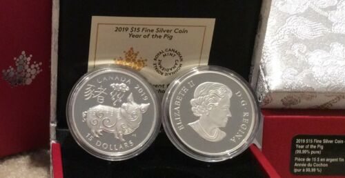 2019 Year of the Pig $15 1OZ Pure Silver Proof Canada Coin