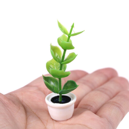 1:12 miniature green plant pot dollhouse garden accessory for kids doll gifts P0