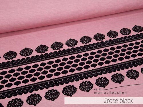 "Jersey-Stoff Damen Mädchen Bordüre Spitze rosa /""lacing #rose-black/"" Panel 0,8m"