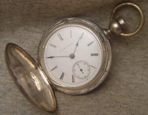 husky 1882 18 size Illinois key wind hunter ~ 4oz coin silver