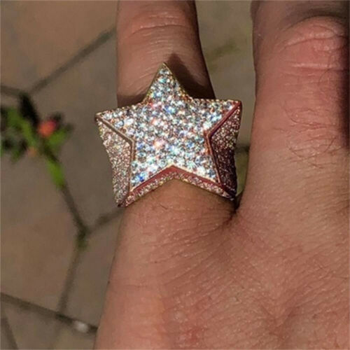 Diamond Hip Hop Kubischer Zirconia Diamond Pentagram CZ Sternring Inlaid