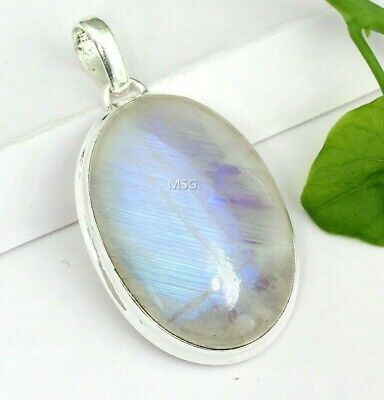 PN29 Very High Quality  Stylish Natural Blue Fire Rainbow Moonstone Silver Plated Pendant 19x15x8 mm Oval /& Smooth weight in 20.9 ct