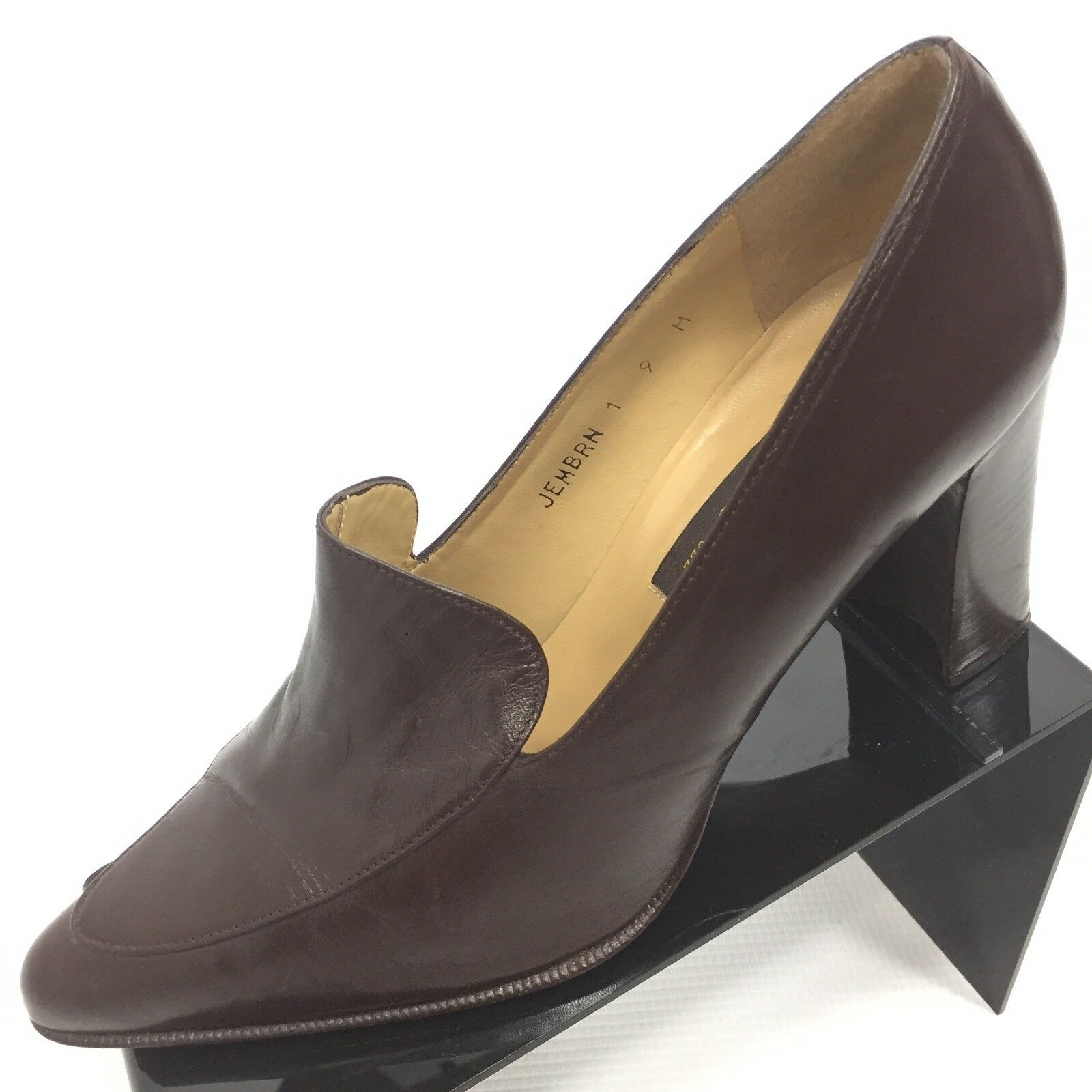 SESTO MEUCCI Women's Solid Brown Leather Apron Block 3.5  Heels 9 Made in Spain