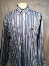 Faconnable Long Sleeve Blue Striped Button Down Shirt Size XL 100% Cotton