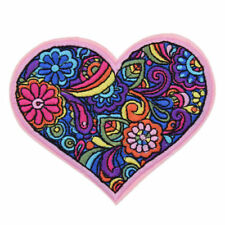 Heart Patch Flower Embroidered Applique Sew Iron On DIY Fabric Badge Craft L2X7