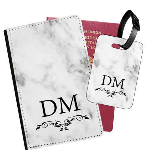 15 Personalised Marble PU Leather Passport Holder Travel Wallet /& Luggage Tag