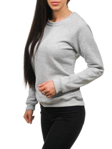 Damen Sweatshirt Rundhals Pullover Pulli Langarmshirt Casual BOLF A1A Unifarben