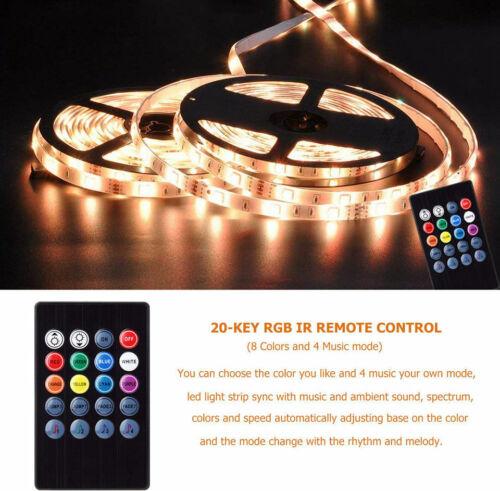 5m 10m 20m LED Strip Light RGB 5050 Music Sync Sound Sensor 20Key Controller set
