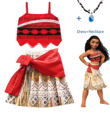 Details about  /Girls Kids Movie Polynesia princess Moana 2-Piece Costume Birthday Dress ZG9