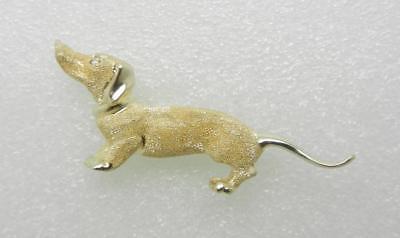 Dog Dachshund Rhinestone Vintage Gold Pin Brooch D-3612