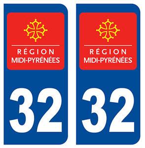 32 Gers Departement Immatriculation 2 X Autocollants Sticker Autos
