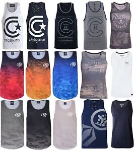 Mens-Crosshatch-Duke-Vest-Sleeveless-Muscle-Tank-Top-Gym-Summer-T-shirt-Printed