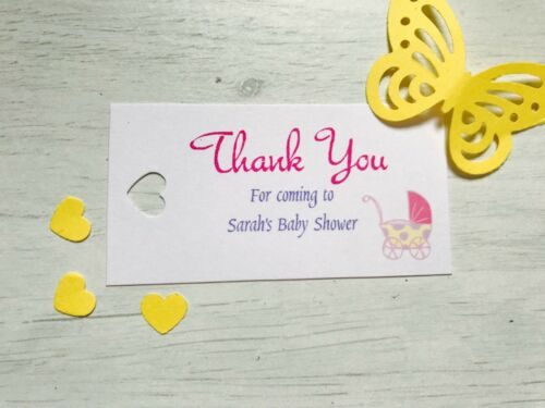 Personalised baby shower thank you tags girl buggy