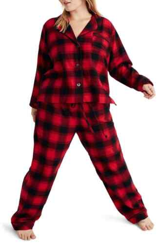 Madewell Women/'s Flannel Bedtime Pajama Set in Buffalo Plaid XL New