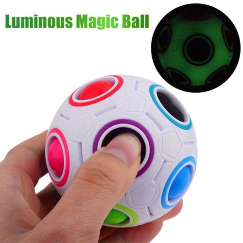 New Luminous Stress Reliever Rainbow Magic Ball Plastic Cube Twist Puzzle Toys