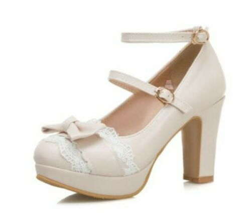 Lolita Mary Janes Ladies Block High Heels Round Toe Cosplay Shoes Casual Pumps D