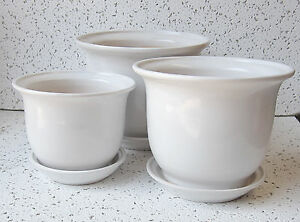 7 3 4 set of 3 white ceramic indoor planters w saucers flower pots floral ebay - Indoor plant pots with saucers ...