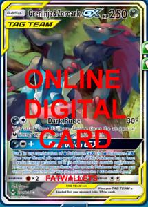 Greninja /& Zoroark GX UR 201//214 Unbroken Bonds Pokemon TCG Online Digital.