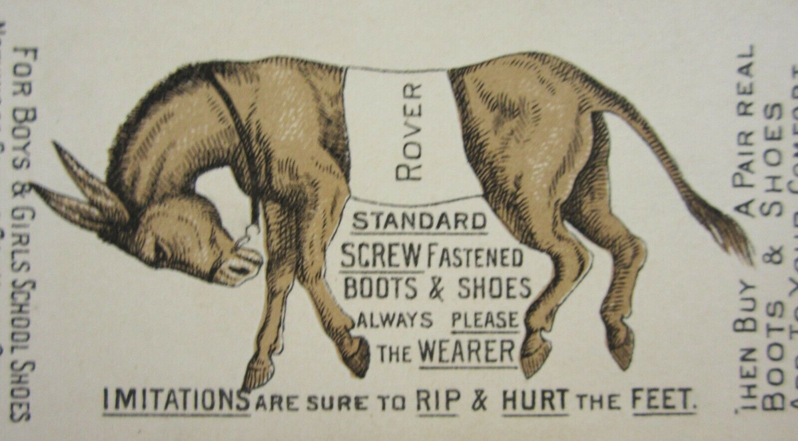 Antique Shoes Victorian Trade Card Standard Screw Fastened Boots Donkey Rover
