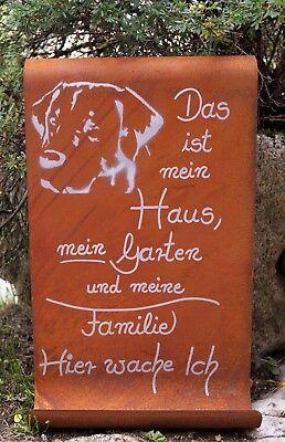 Selbstbeschriften Gartendeko Edelrost Spruchtafel Tafel Schild Hundepfote z