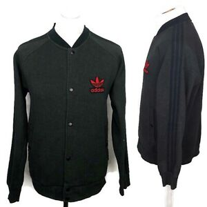 Details about TEAM ADIDAS Grey Popper Varsity Jacket Size Large Men's Sweatshirt Trefoil Top