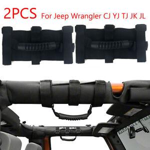 2pcs PREMIUM Roll Bar Grab Handle Handles Black for Jeep Wrangler CJ YJ TJ JK
