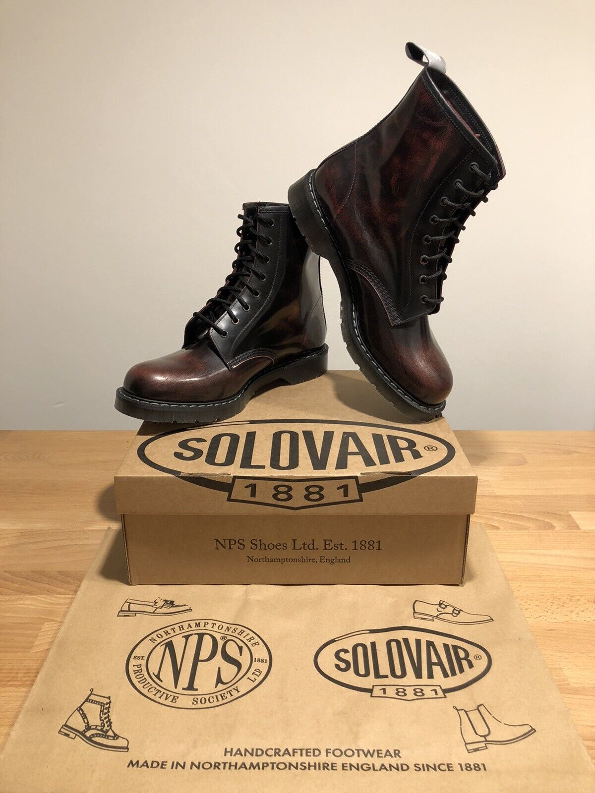 NPS SOLOVAIR Galaxy Bordeaux Leather 8 Eye Derby Boot! SizeUK12!New!Only!