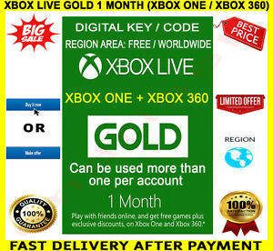 Xbox Live Gold 1 Month Membership 🔑 Digital Code Key 🌏 Xbox One / Xbox 360  | eBay