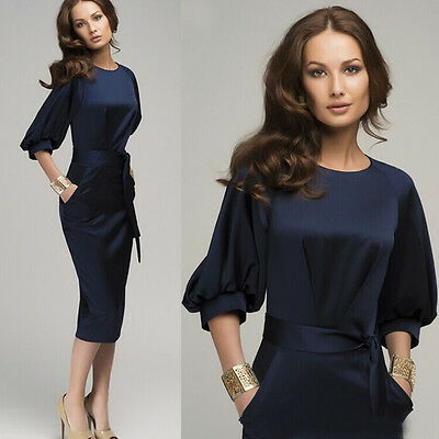 New Women Summer Casual Office Lady Formal Party Evening Cocktail Midi Dress