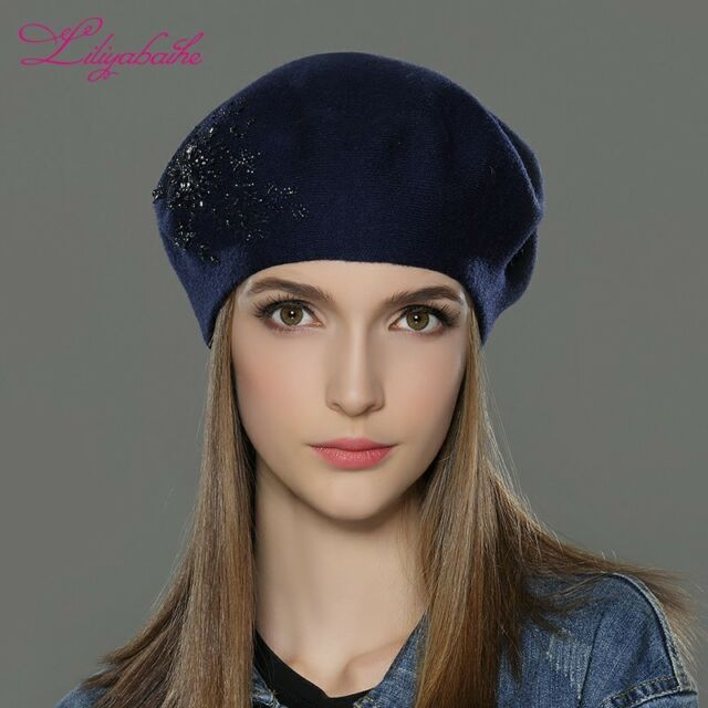 b4106eef0 Women Winter Hat Wool Knitted Berets Cap and Flower Sequins Diamond  Decoration China Blue