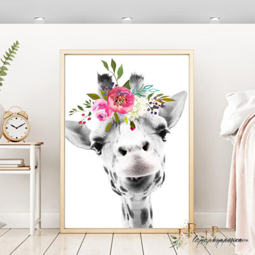 GIRAFFE WALL Print Girls Wall Print,Nursery Print,Kids wall prints,Animal print