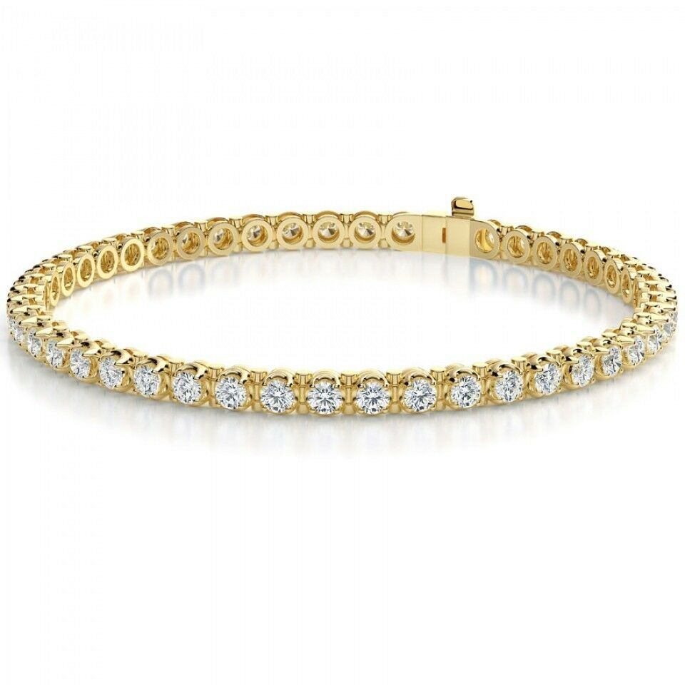 3.15 CARAT CERTIFIED DIAMOND TENNIS BRACELET 14K YELLOW gold