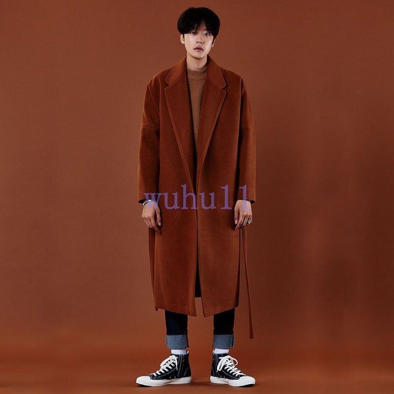 Men's KoreanCashmere Solid Dust Coat Over Knee Woolen Tailored Collar Casual New
