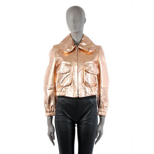 dacaf8c14 Details about 40647 auth MARC JACOBS metallic rose gold leather Bomber  Jacket 8 M