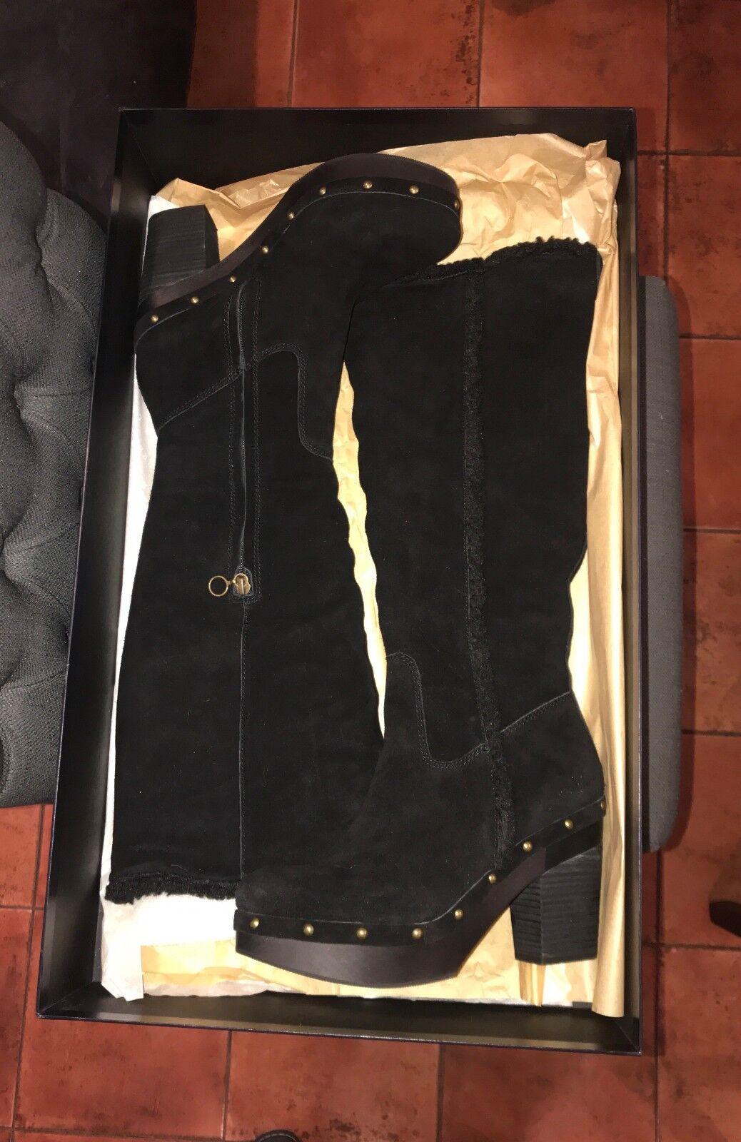 Ralph Lauren Nuevo Caja callen Negro Gamuza & Shearling botas botas botas de plataforma 9B magnífico  tomamos a los clientes como nuestro dios