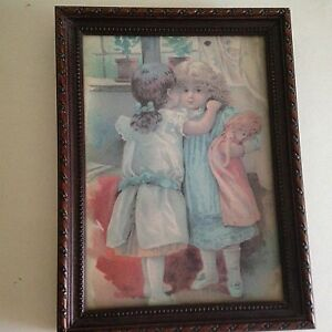 Resin-Frame-Girls-and-Doll-Picture-Desk-Top-or-Wall-Hanging-8-034-X-6-034-Best-Friends