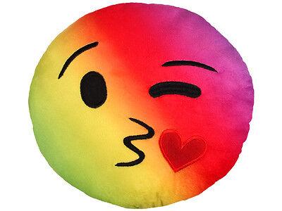 Rainbow Kuss Kissen Emoticon Dekokissen Emoji Smiley 20cm Durchmesser Sofakissen