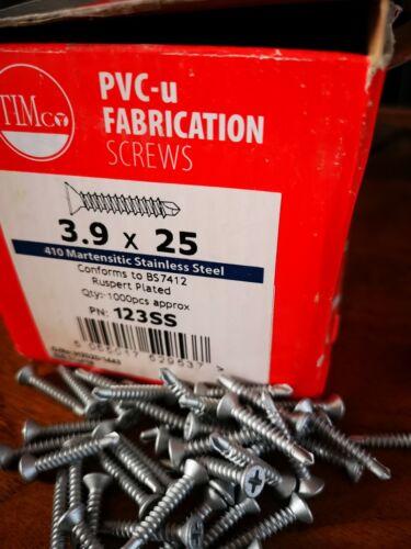 3.9 x 25mm PVC-u Baypole Self Tap Self Drill Fabrication Screws x 50pc zinc