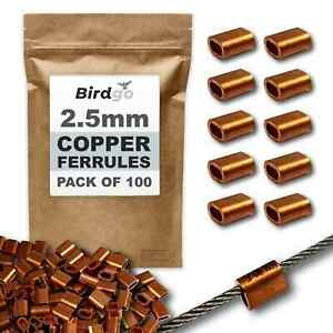 Birdgo 2.5mm Copper Ferrules for 2mm Wire Rope - Pigeon Bird Control Netting