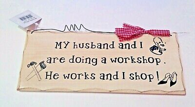 Husband And Dog Missing Plaque Shabby Chic Style Wooden Wall Funny Signs