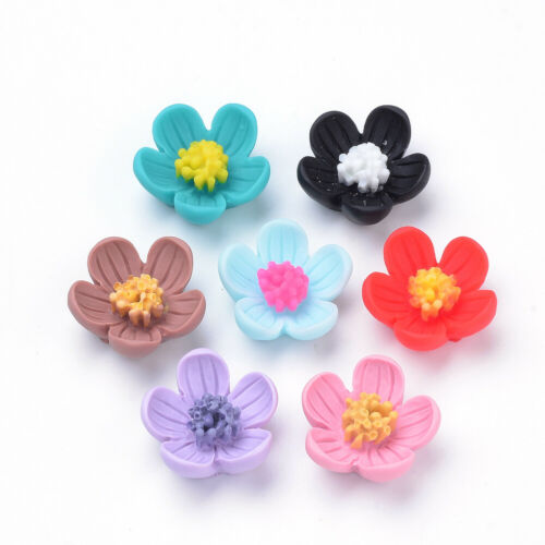 20 pcs 5-Petal Flower Resin Beads Mixed Color Crafts Jewelry Making 20x21x9mm