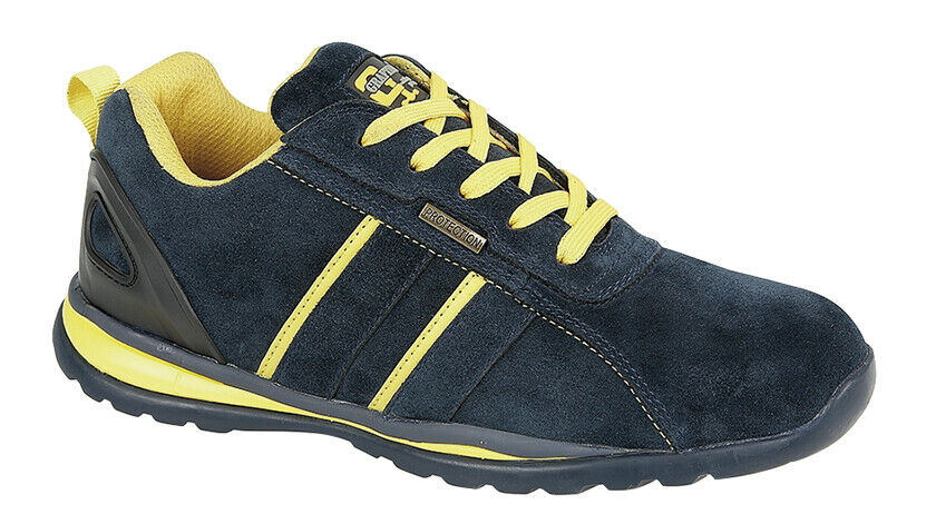 Grafters M090 Mens Navy Yellow Grey Real Suede Lightweight Steel Toe Cap Trainer