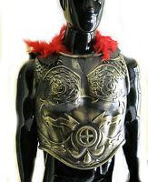 Roman Greek Soldier Army Chest Armor & Black Cape Adult Halloween Costume