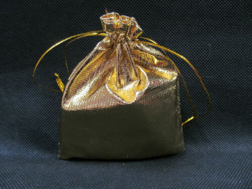 10x SHINY SILVER or GOLD LAME GIFT ORGANZA JEWELLERY WEDDING FAVOUR POUCHES BAGS